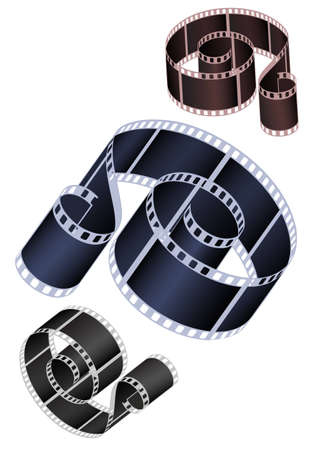 Vector image of the braided film of various colours Vector