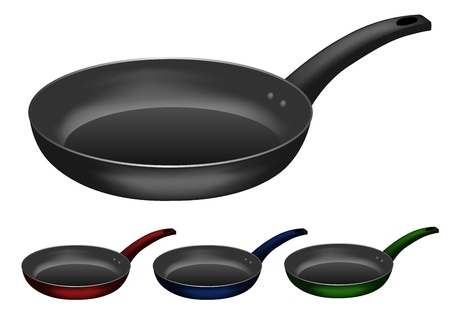 skillet: Vector image of  frying pan  set of different colours Illustration