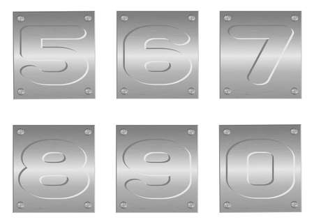 Vector image of embossed letters and figures on metal plate Stock Vector - 12497701
