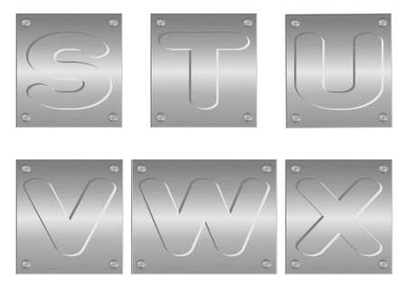 Vector image of embossed letters and figures on metal plate Vector
