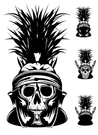 roman soldier: image of skull in  helmet Illustration