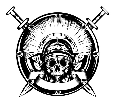 buckler: image skull in helmet  and shield and crossed sword