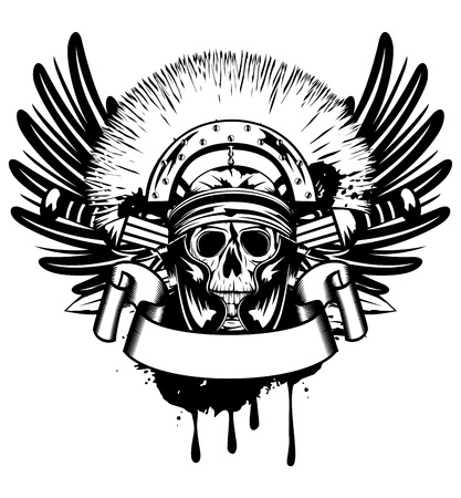 traditional weapon: Vector image skull in helmet  and crossed sword   Illustration