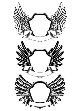 wings angel: illustration  shield and ribbon Illustration