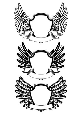 alas de angel: ilustraci�n de escudo y la cinta