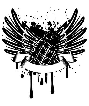 beeld ontwerp van een T-korte vleugels met granaat