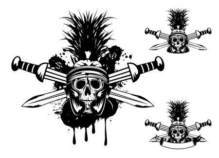 image skull in helmet  and crossed sword   Vector