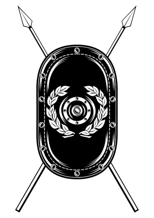 image of  shield and crossed spears Vector