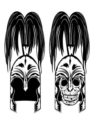 warrior tribal tattoo: image of skull in  helmet Illustration