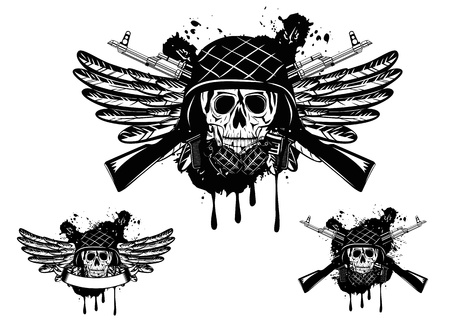 Vector image of  skull in an army helmet with  automatic machine and grenade