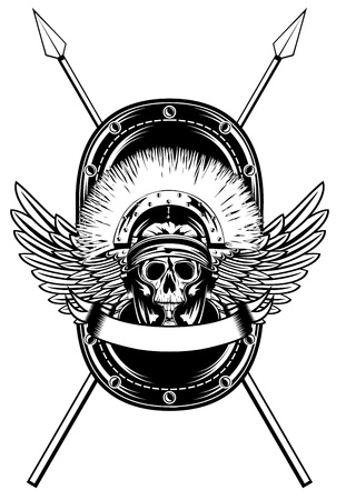 image skull in helmet  and shield and crossed spears    Illustration