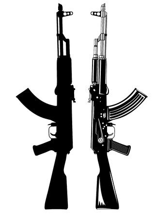 pistola: imagen de la m�quina autom�tica de AK 47 Vectores