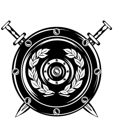 image of  shield and crossed swords Stock Illustratie