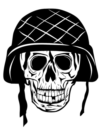 military uniform: image of  skull in an army helmet