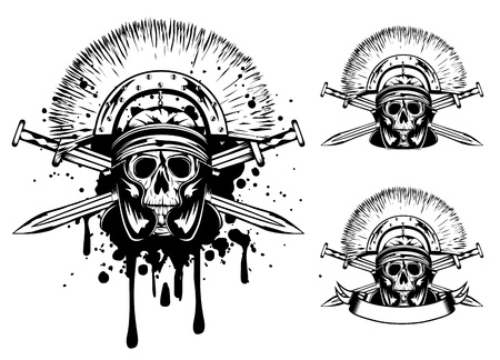 image skull in helmet  and crossed sword