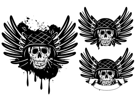 image of  skull in an army helmet and wings Vector