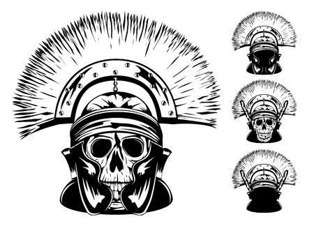 image of skull in  helmet Stock Illustratie