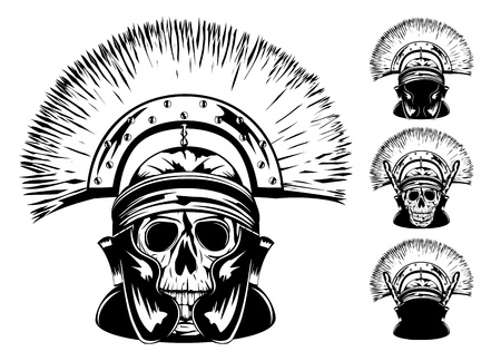 ancient soldiers: image of skull in  helmet Illustration
