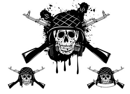 afbeelding van de schedel in een leger helm met automatische machine en granaat Vector Illustratie