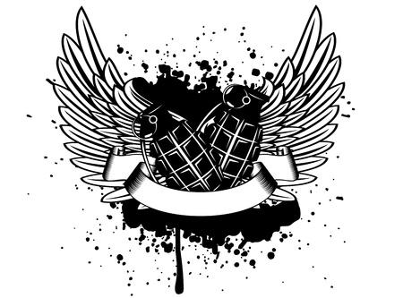 beeld ontwerp van een T-korte vleugels met granaat Vector Illustratie