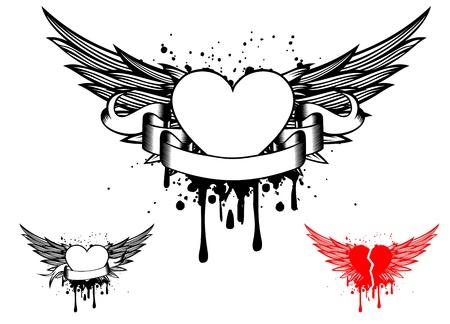 tatouage ange: Ailes illustration vectorielle et cardiaques