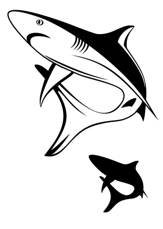 Vector illustration black shark and silhouette Vector