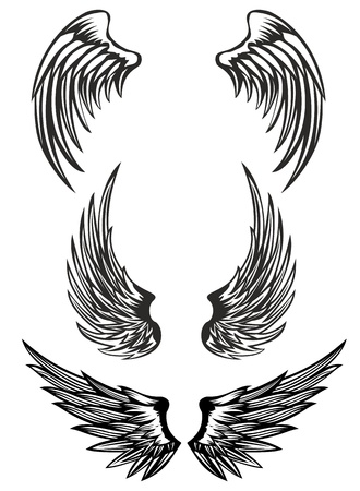 tatouage ange: Ailes illustration vectorielle mis en