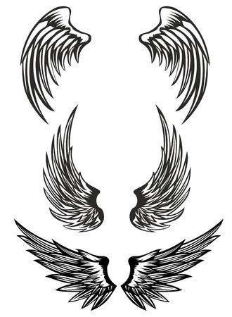 cartoon demon: Vector illustration wings set Illustration