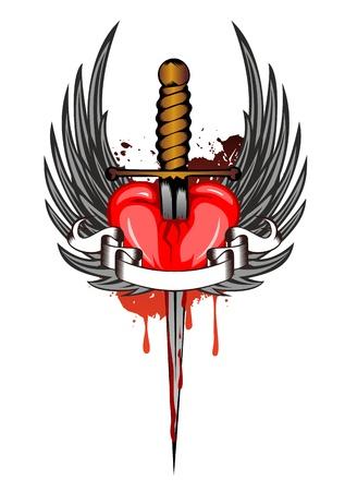 corazon con alas: Vector la ilustraci�n del coraz�n y las alas