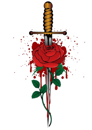 daggers: Vector illustration rose and dagger