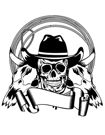 bandit: Vector illustration cowboy and skull bull