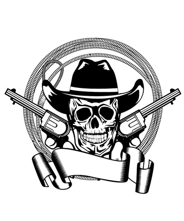 Vector illustration cowboy and two pistols Stock Illustratie