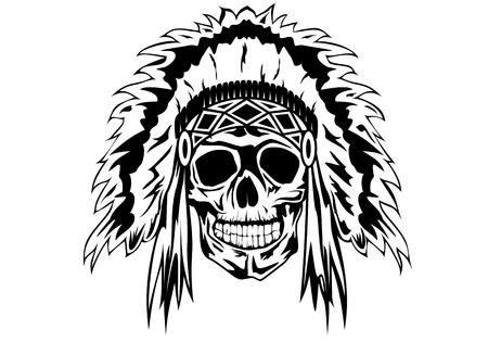 skull tattoo: Vector illustratie indian