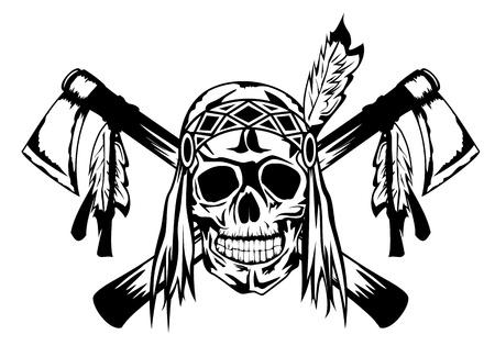 craneo: Ilustraci�n vectorial indio y tomahawk