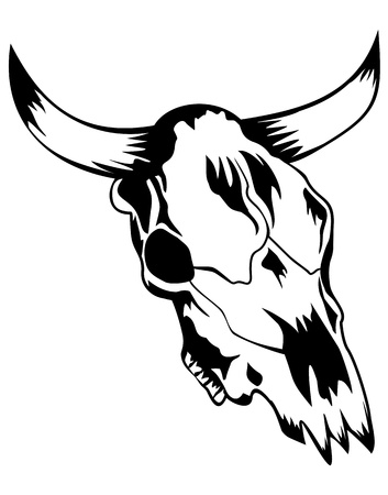 killed: Vector illustration skull bull