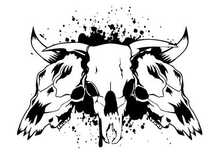 viejo oeste: Cr�neos Ilustraci�n del vector toros