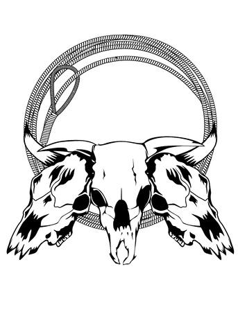 Vector illustration skulls bulls and lasso Vector