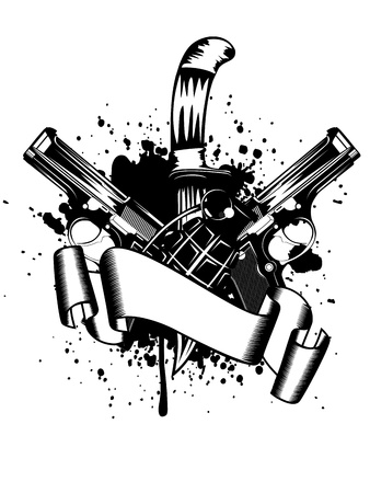 bullet icon: Vector illustration two pistols and knife Illustration