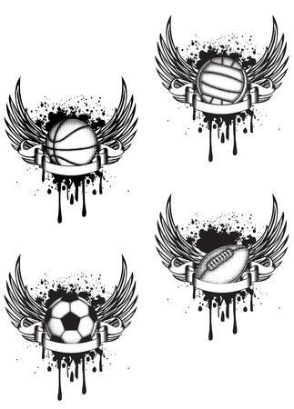football match: Vector emblema pallavolo, calcio, rugby e basket con le ali di cui Vettoriali