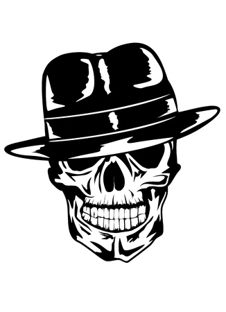 tete de mort: Vector image du cr�ne dans le chapeau - gangster