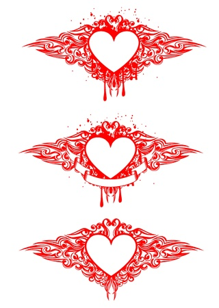 Vector image of heart with patterns Vector