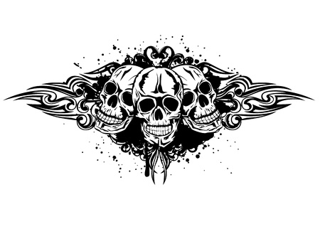 Vector illustration three skulls and patterns Vector