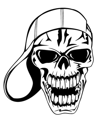 gangster with gun: Vector image skull in cap