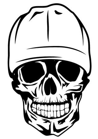 bandidas: Vector de la imagen del cr�neo en el sombrero Vectores