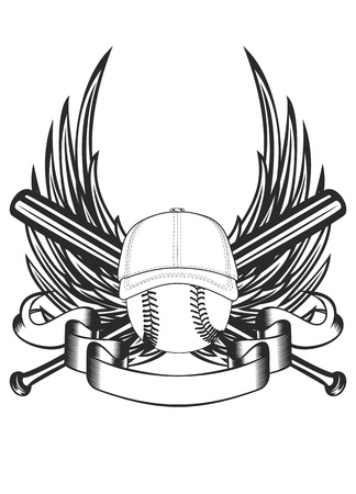 catcher baseball: balle illustration casquette de baseball et les chauves-souris crois�es