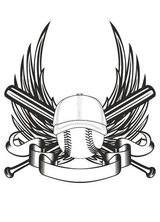campo de beisbol: ilustración de la pelota en la gorra de béisbol y palos cruzados Vectores