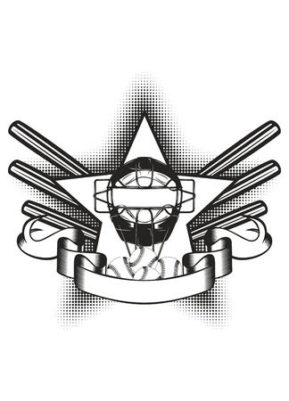league: illustration baseball mask in star and bat