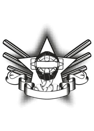 catcher: ilustraci�n m�scara de b�isbol en estrella y el murci�lago