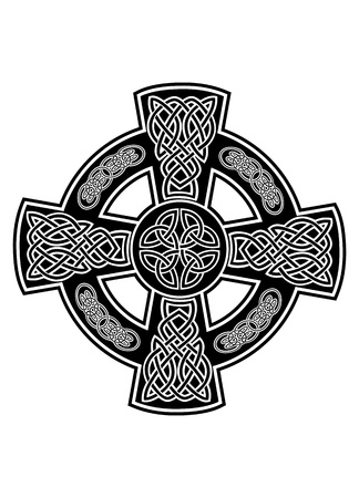 celtic culture: image Celtic cross with patterns Illustration