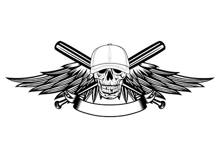 The image skull in baseball cap and wings Vector